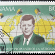 Stock Photo: PANAM- CIRC1966: stamp printed in Panamshows image of John Fitzgerald Kennedy, propellant of astronautics, circ1966.