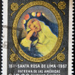 PERU - CIRCA 1967: A stamp printed in Peru shows St. Rose of Lima, patroness of the Americas Philippines and India, circa 1967 — Stock Photo