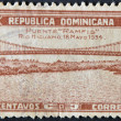 DOMINICAN REPUBLIC - CIRCA 1934: A stamp printed in Dominican Republic shows the bridge Ramfis on the river Higuamo, circa 1934 — Stock Photo