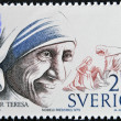 Royalty-Free Stock Photo: SWEDEN - CIRCA 1986: A stamp printed in Sweden dedicated to Nobel Peace, shows mother Teresa, circa 1986