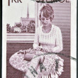 SWEDEN - CIRCA 1970: A stamp printed in Sweden shows Woman Lacemaker, circa 1970 - Stock Photo