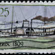 Stock Photo: UNITED STATES - CIRC1989: stamp printed in USshows Steamboat, circ1989