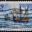 USA - CIRCA 1993: A stamp printed in USA shows Columbus Ships landing in Puerto Rico, 500th anniversary, circa 1993 — Stock Photo