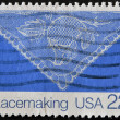 USA - CIRCA 1980: A stamp printed in USA shows image of the dedicated to the Lace is an openwork fabric, patterned with open holes in the work, made by machine or by hand, circa 1980. — Stock Photo