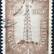 Foto Stock: US- CIRC1959 : stamp printed in USshow Petroleum Industry with first oil well at Titusville, Pennsylvania, circ1959