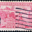 Stock Photo: UNITED STATES - CIRC1925: stamp printed in USshows battle of Lexington-Concord. AmericRevolution, circ1925
