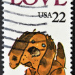 UNITED STATES - CIRCA 1986: stamp printed in USA shows puppy, circa 1986 — Stock Photo