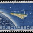 UNITED STATES OF AMERIC- CIRC1962: stamp printed in USshows Project Mercury, Friendship 7 capsule and Globe, circ1962 — Stock Photo #9445685