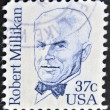 Stock Photo: US- CIRC1982 : stamp printed in USshows Robert Andrews MillikAmericexperimental physicist, circ1982