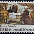 USA - CIRCA 1983 : A stamp printed in the USA shows Treaty of Paris 1783, circa 1983 — Stock Photo