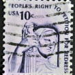 UNITED STATES OF AMERICA  - CIRCA 1975: A stamp printed in the USA shows Contemplation of Justice (statue, J. E. Fraser), circa 1975 — Stock Photo