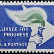 USA - CIRCA 1963: A Stamp printed in USA shows the Alliance emblem, devoted to 2nd anniv. of the Alliance for Progress, circa 1963 - Stock Photo