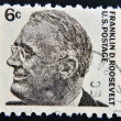 Stock Photo: USA-CIRC1966:stamp printed in USshows image of Franklin Delano Roosevelt, circ1966.