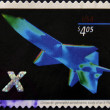 UNITED STATES OF AMERIC- CIRC2006: stamp printed in USshows computer-generated aerodynamic study of X-plane, circ2006 — Stock Photo #9446335