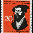 Stock Photo: GERMANY -CIRC1964: stamp printed in Germany shows John Calvin, influential French theologiand pastor during Protestant Reformation, circ1964.