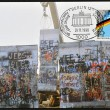 GERMANY - CIRC1990: stamp printed in Germany, is dedicated to first anniversary of fall of Berlin Wall, circ1990 — Stock Photo #9448753