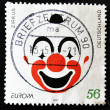 Royalty-Free Stock Photo: GERMANY - CIRCA 2002: A stamp printed in Germany dedicated to circus shows the face of a clown, circa 2002