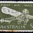 Stock Photo: AUSTRALI- CIRC1964: stamp printed in Australishows Bleriot monoplane printed to commemorate 50th anniversary of first air mail flight in Australia, circ1964.