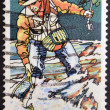 AUSTRALIA - CIRCA 1980: A stamp printed in australia shows Trout Fishing, circa 1980 — Stock Photo
