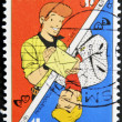 BELGIUM - CIRCA 1998: A stamp printed in Belgium shows Hero of the comic strips and Playing card, circa 1998 — Stock Photo