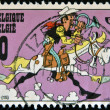 BERLGIUM - CIRCA 2000: A stamp printed in Belgium shows cartoon lucky luke, circa 2000 — Stok fotoğraf