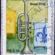 BRAZIL- CIRCA 2002: A stamp printed in Brazil shows a trumpet, circa 2002 — Stock Photo