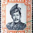 BRUNEI - CIRCA 1958: A stamp printed in Brunei shows Sultan Omar Ali Saifuddin, circa 1958 — Photo