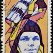 Stock Photo: CZECHOSLOVAKI- CIRC1977: stamp printed in Czechoslovakia, shows Yuri Gagarin, Soviet cosmonaut, first min space, circ1977