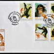 CUBA - CIRCA 1998: A postcard printed in Cuba dedicated to evolution of the chimp, circa 1998 — Stock Photo