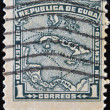 CUBA - CIRCA 1914: A stamp printed in cuba shows map of the Republic of Cuba, circa 1914 — Stock Photo