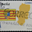 SPAIN - CIRCA 2010: A stamp printed in spain shows flag and map of the autonomous community of Aragon, circa 2010 — Stock Photo