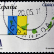 SPAIN - CIRCA 2010: A stamp printed in spain shows flag and map of the autonomous community of canary islands, circa 2010 — Stock Photo #9449597