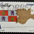 SPAIN - CIRCA 2011: A stamp printed in spain shows flag and map of the autonomous community of Castilla y Leon, circa 2011 - Stock Photo