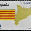SPAIN - CIRCA 2009: A stamp printed in spain shows flag and map of the autonomous community of Catalonia, circa 2009 — Stock Photo
