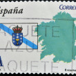 SPAIN - CIRCA 2009: A stamp printed in spain shows flag and map of the autonomous community of Galicia, circa 2009 — Stock Photo