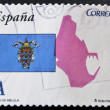 SPAIN - CIRCA 2011: A stamp printed in spain shows flag and map of the autonomous city of Melilla, circa 2011 — Stock Photo