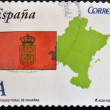 SPAIN - CIRCA 2011: A stamp printed in spain shows flag and map of the autonomous community of Navarra, circa 2011 — Stock Photo