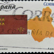 Stock Photo: SPAIN - CIRC2010: stamp printed in spain shows flag and map of autonomous community of Murcia, circ2010