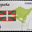 SPAIN - CIRCA 2009: A stamp printed in spain shows flag and map of the autonomous community of Basque Country, circa 2009 — Stock Photo