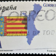 SPAIN - CIRCA 2010: A stamp printed in spain shows flag and map of the autonomous community of Valencia, circa 2010 — Stock Photo