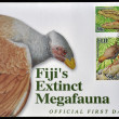 Stock Photo: FIJI - CIRC2006: postcard printed in Fiji dedicated to fiji´s extinct megafauna, circ2006