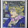 FRANCE - CIRCA 1965: A stamp printed in France shows the work &quot;The Star of English at Havre&quot; by Henry Toulouse Lautrec, circa 1965 - Stock Photo