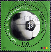 GERMANY - CIRCA 2000: A stamp printed in Germany shows soccer ball, circa 2000 — Zdjęcie stockowe