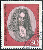 GERMANY - CIRCA 1966: A stamp printed in the Germany shows Gottfried Wilhelm Leibniz, philosopher and mathematician, circa 1966 — Stock Photo