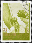 SOUTH ARABIA - CIRCA 1967: stamp printed by South Arabia, shows John Fitzgerald Kennedy and Jacqueline, circa 1967 — Stock Photo