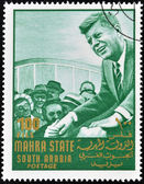 SOUTH ARABIA - CIRCA 1967: stamp printed by South Arabia, shows John Fitzgerald Kennedy, circa 1967. — Stock Photo