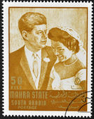 SOUTH ARABIA - CIRCA 1967: stamp printed by South Arabia, shows Wedding of John Fitzgerald Kennedy and Jacqueline, circa 1967 — Stock Photo