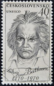 CZECHOSLOVAKIA - CIRCA 1970: a stamp printed in Czechoslovakia shows Ludwig Van Beethoven, the famous German composer, circa 1970 — Zdjęcie stockowe