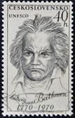 CZECHOSLOVAKIA - CIRCA 1970: a stamp printed in Czechoslovakia shows Ludwig Van Beethoven, the famous German composer, circa 1970 — Zdjęcie stockowe