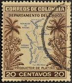 COLOMBIA - CIRCA 1940: A stamp printed in Colombia shows map of the department of Choco, producer of platinum, circa 1940 — Stock Photo